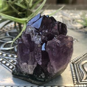 Rough raw natural amethyst crystal cluster